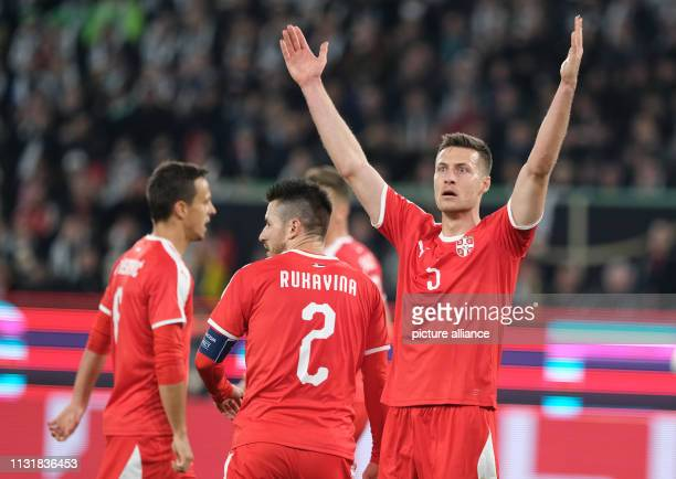 Soccer International match Germany Serbia in the Volkswagen Arena Uros Spajic from Serbia gesticulated IMPORTANT NOTE In accordance with the...
