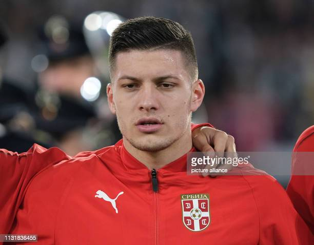 Soccer International match Germany Serbia in the Volkswagen Arena Luka Jovic from Serbia IMPORTANT NOTE In accordance with the requirements of the...