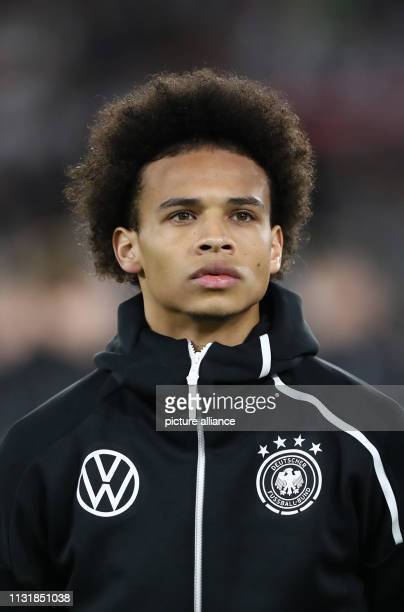 March 2019, Lower Saxony, Wolfsburg: Soccer: International match, Germany - Serbia in the Volkswagen Arena. Germany's Leroy Sane. Photo: Christian...