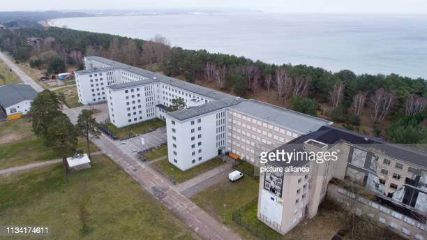 March 2019, Mecklenburg-Western Pomerania, Prora: View of block 5 in the listed complex Prora with the youth hostel . Prora is on its way to becoming...