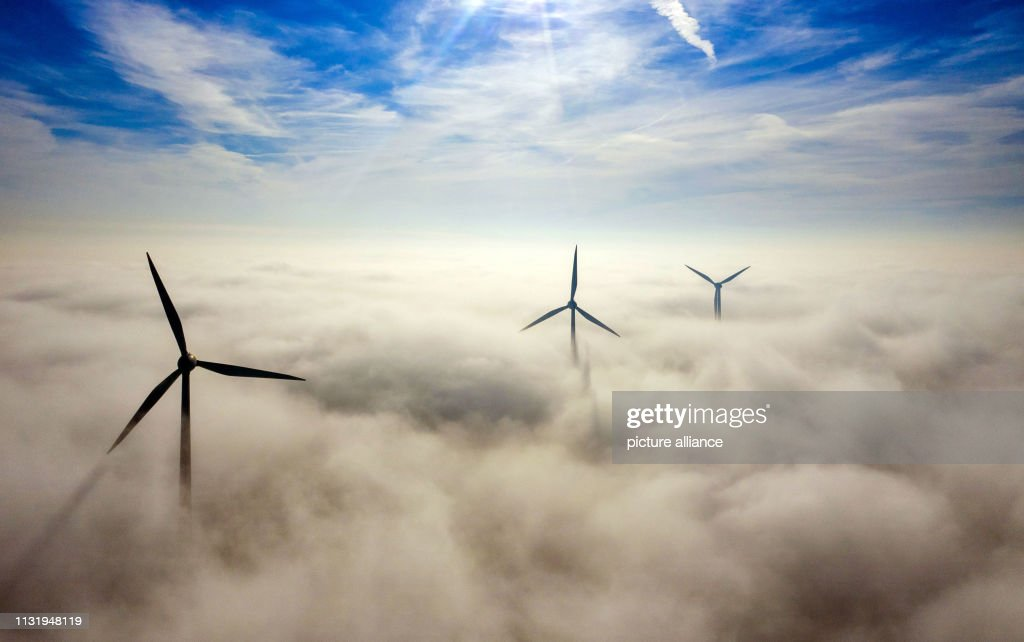 DEU: Wind Turbines In The Morning Fog