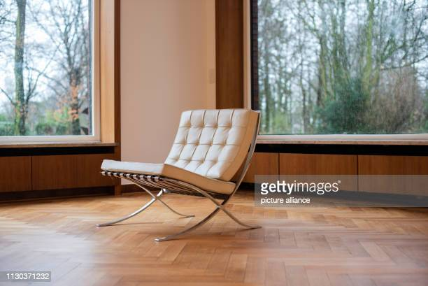 14 March 2019 North RhineWestphalia Krefeld A Barcelona armchair stands in Krefeld To mark the 100th anniversary of the Bauhaus two masterpieces of...