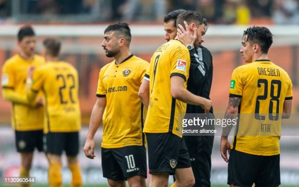 Soccer 2nd Bundesliga SG Dynamo Dresden 1st FC Magdeburg 26th matchday in the Rudolf Harbig Stadium Dynamos coach Cristian Fiel hugs the goalscorer...