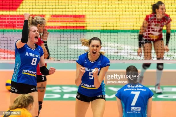Volleyball women Bundesliga Dresdner SC MTV Stuttgart main round 18th matchday in the Margon Arena Stuttgart's Mallory Grace McCage and Julia...