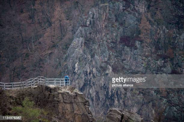 On a dark spring day a visitor to the Harz mountains stands high above the Bodetal valley at the Roßtrappe viewpoint Photo KlausDietmar...