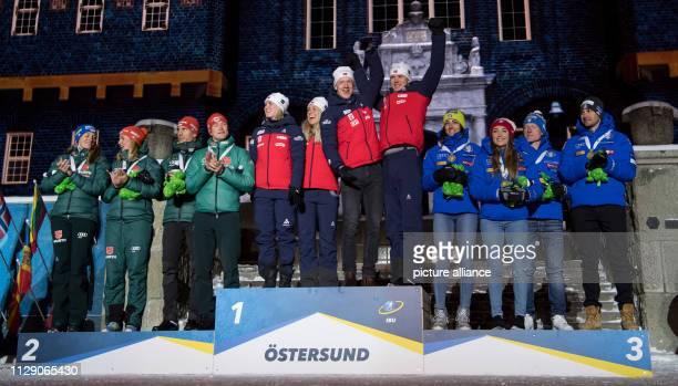Biathlon World Championship Medal Ceremony Mixed Relay 2 x 6 km 2 x 75 km Vanessa Hinz Denise Herrmann Arnd Peiffer and Benedikt Doll from Germany...