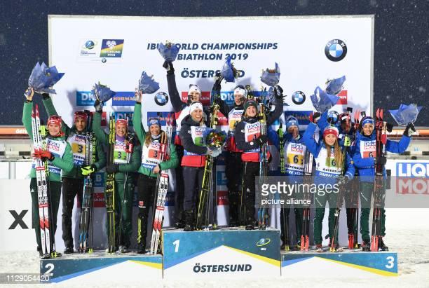 Biathlon World Championship Mixed Relay 2 x 6 km 2 x 75 km Second placed Team Germany with Benedikt Doll Arnd Peiffer Vanessa Hinz Denise Herrmann...