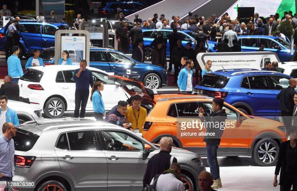 March 2019, Switzerland, Genf: A hall overview, taken on the second press day. The 89th Geneva Motor Show starts on 7 March and lasts until 17 March....