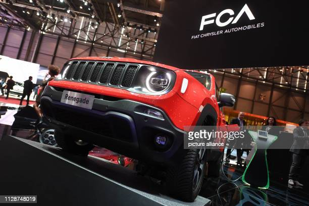 A Jeep Renegade 4x4 e is presented at the Geneva Motor Show on the first press day In the background you can see the writing FCA Fiat Chrysler...