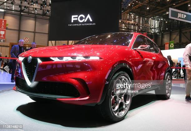 At the Geneva Motor Show the Alfa Romeo Tonale will be presented on the first press day In the background you can see the writing FCA Fiat Chrysler...