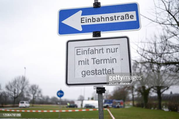 10 March 2020 BadenWuerttemberg Oberteuringen A sign with the inscription Einfaht nur mit Termin gestattet is located at the entrance to the test...