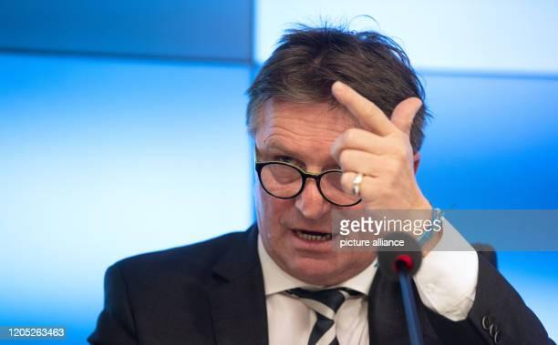 "March 2020, Baden-Wuerttemberg, Stuttgart: Manfred ""Manne"" Lucha , Minister of Social Affairs of Baden-Württemberg, attends a government press..."