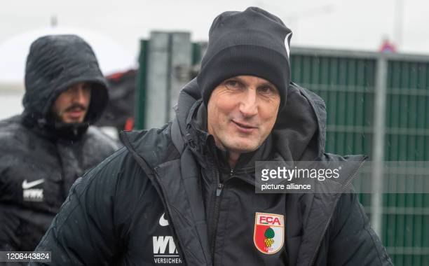 Heiko Herrlich enters the training ground of FC Augsburg Herrlich was in charge of his first training session at the Bundesliga club FC Augsburg as...