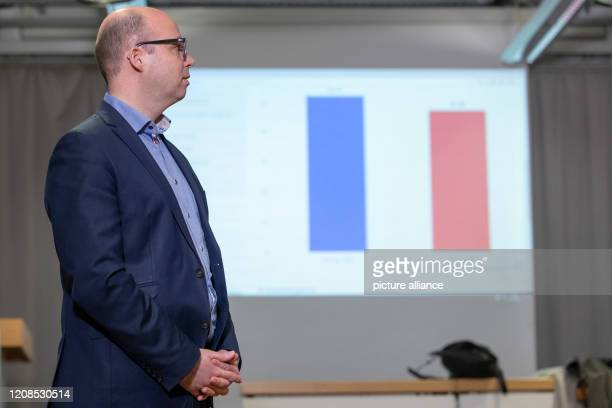 Thorsten Brehm the SPD's top candidate for the Lord Mayor's Office in Nuremberg looks at the results of the counts of the runoff elections for the...