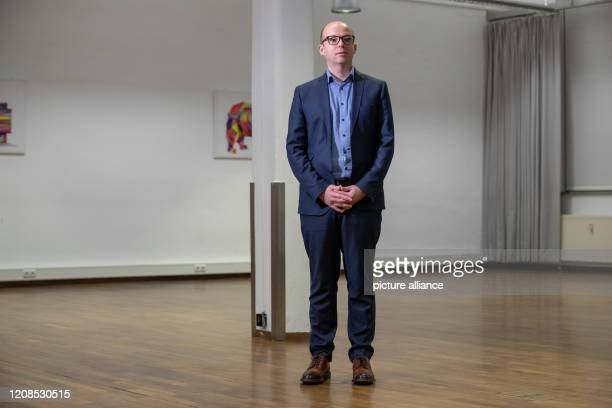 Thorsten Brehm the SPD's top candidate for the Lord Mayor's Office in Nuremberg is waiting for the start of an interview shortly before the end of...