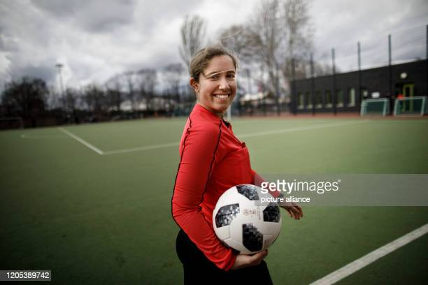 March 2020, Berlin: Laura Messingfeld, football referee, before the start of the football match between FC Internationale and SSC Teutonia 99 in the...