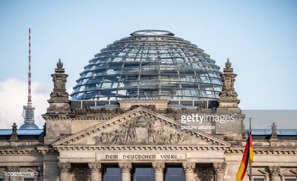 The dome on top of the Reichstag building seat of the German Bundestag is deserted after it was closed for visitors until further notice The reason...