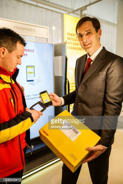 March 2020, Berlin: Tobias Meyer , Member of the Board of Management of Deutsche Post DHL Group responsible for Post & Parcel Germany, presents the...