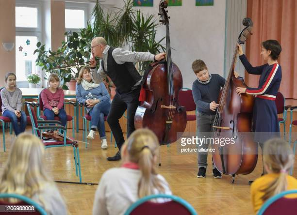 Anne Kathrin Meier music pedagogue and Stefan Große Boymann musician on double bass with the Brandenburg State Orchestra Frankfurt teach classical...