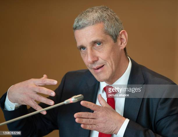 Markus Rück CEO of Sparkasse OstprignitzRuppin speaks during a press conference This was preceded by a round table of the Minister of Finance with...