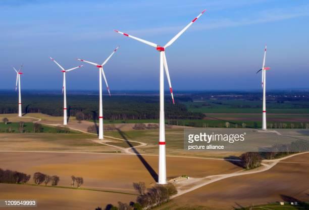March 2020, Mecklenburg-Western Pomerania, Hoort: New wind turbines are located at the Hoort wind farm south of Schwerin. The Hoort wind farm south...