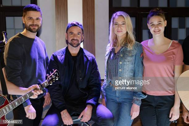 10 March 2020 North RhineWestphalia Cologne Actor Milos Vukovic singer Joel Brandenstein and the actresses Alica Hubiak and Josephine Becker stand in...