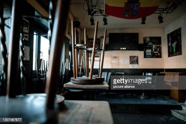 17 March 2020 North RhineWestphalia Mülheim an der Ruhr Barstools are on the tables The pub Rathsstuben in Mülheim an der Ruhr is closed until...