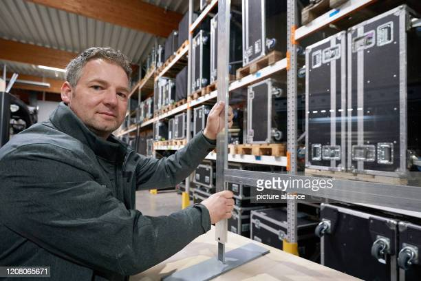 March 2020, Rhineland-Palatinate, Urmitz: Lars Brennecke, head of the company Action Light, which normally handles event technology and exhibition...