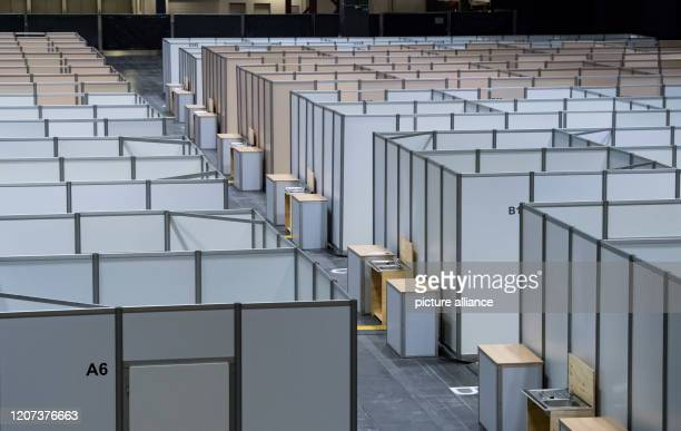 March 2020, Saxony, Chemnitz: One day before the opening, the cabins for a corona ambulance can be seen at the Chemnitz Exhibition Centre. The...