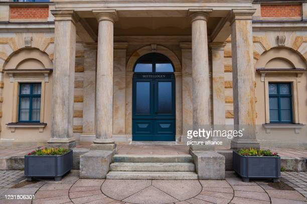 March 2021, Bavaria, Bayreuth: A view of an entrance to the Festspielhaus Bayreuth. Cultural institutions have had to remain closed for months due to...