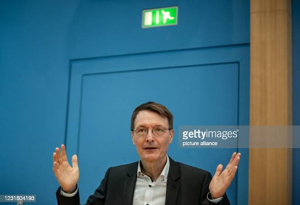 March 2021, Berlin: Karl Lauterbach, health expert of the SPD, speaks at the press conference on the current coronal situation and the further...