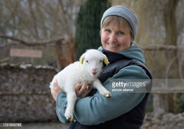 March 2021, Brandenburg, Roskow: Farmer Katja Behling from the Skuddenhof in the Roskow district of Weseram holds Danika, a lamb born on 7 March...