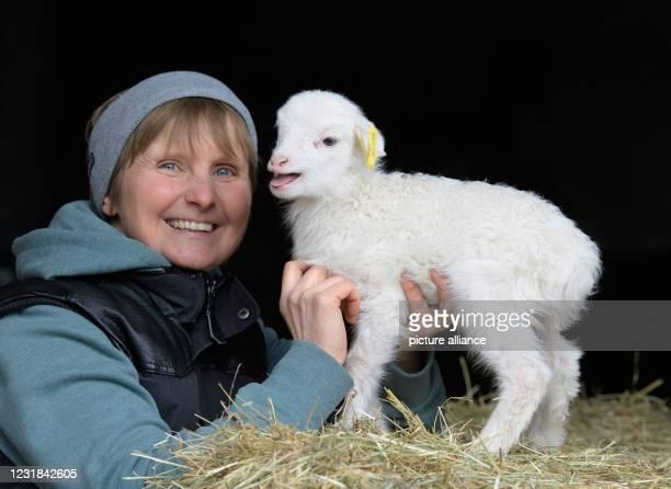 March 2021, Brandenburg, Roskow: Farmer Katja Behling from the Skuddenhof in the Roskow district of Weseram strokes Danika, a lamb born on 7 March...