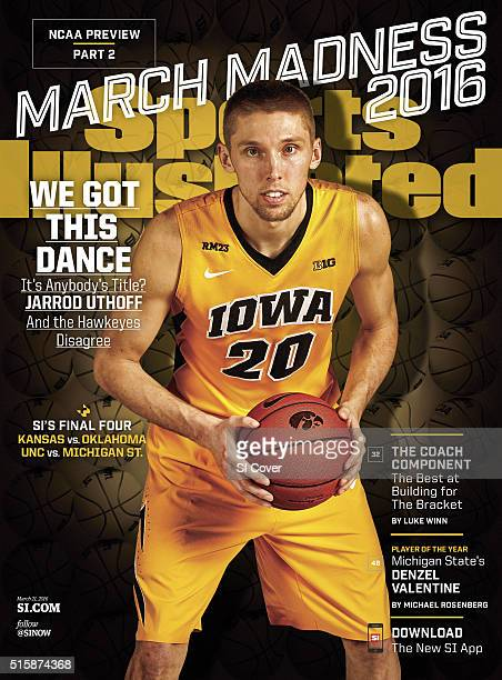 College Basketball NCAA Tournament Preview Portrait of Iowa forward Jarrod Uthoff during photo shoot at the practice facility in CarverHawkeye Arena...
