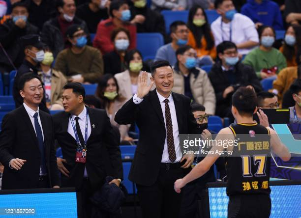 March 21, 2021 -- Du Feng , coach of the South Team, cheers the players during the CBA All-Star Game at the 2020-2021 Chinese Basketball Association...
