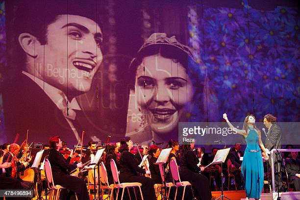 March 21 Heydar Aliyev Palace Baku Azerbaijan A famous Azerbaijani singer performs at the 2nd International Mugham Festival She is accompanied by the...