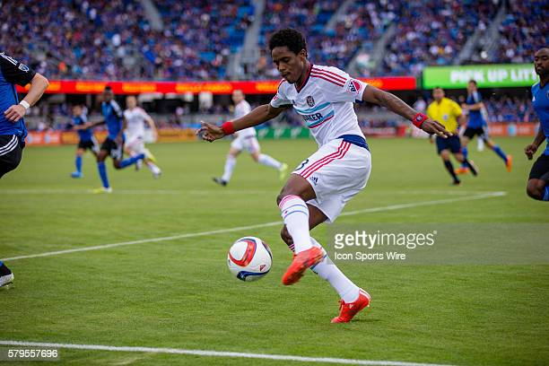 Chicago Fire defender/midfielder Joevin Jones crosses the ball during an MLS soccer game between the San Jose Earthquakes and the Chicago Fire at...