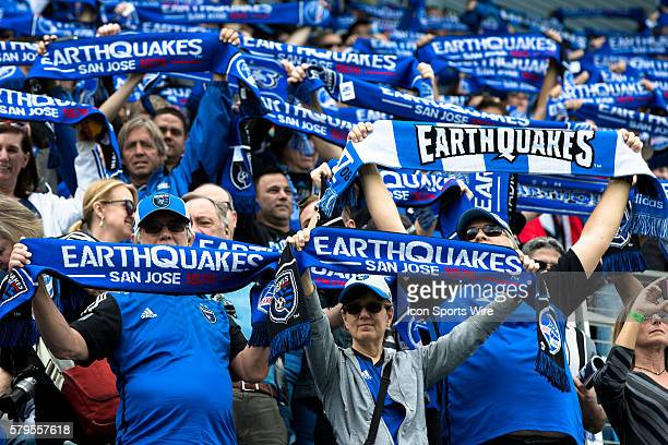 San Jose Earthquakes fans hold up their scarves during the opening ceremony before an MLS soccer game between the San Jose Earthquakes and the...