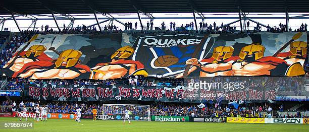 The 1906 Ultras unveil a tifo during an MLS soccer game between the San Jose Earthquakes and the Chicago Fire at Avaya Stadium in San Jose California...