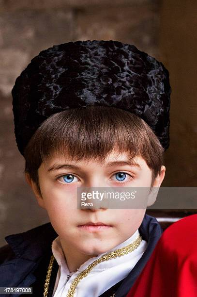 March 22 Karvansaray Old City Baku Azerbaijan A boy dressed in a traditional folklore costume for a film that is documenting the Novruz ceremonies...