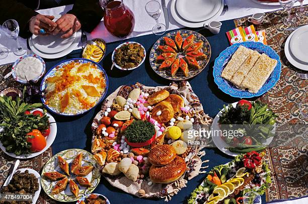 March 22 Karvansaray Old City Baku Azerbaijan The restaurant inside the Karwansaray serves traditional Novruz food On the table is a variety of...