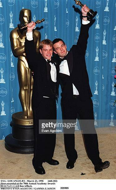 March 23 1998 Ben Affleck And Matt Damon Pose In The Press Room With Their Best Screenplay Oscar For The Film Good Will Hunting At The 70Th Annual...