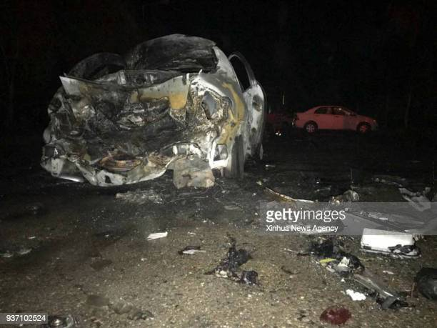 GAH March 23 Photo taken on March 23 2018 shows the blast site in Lashkar Gah Afghanistan's southern province of Helmand At least 14 people were...
