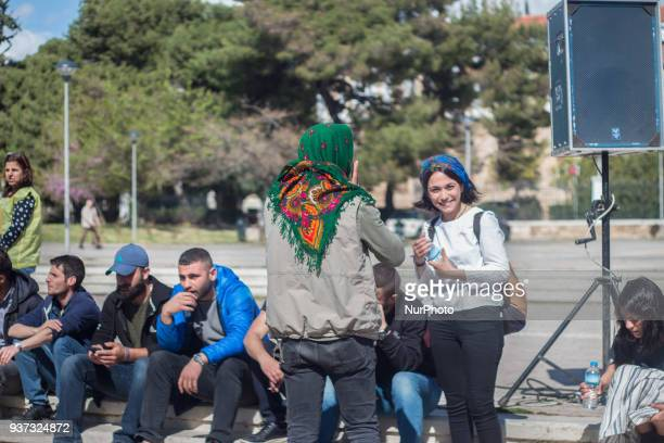 March 23rd 2018 Athens/Greece | The Kurdish community celebrates Newroz in Protomagia square in the center of Athens The main theme of this year's...