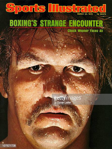 March 24, 1975 Sports Illustrated via Getty Images Cover:Heavyweight Boxing: Closeup portrait of Chuck Wepner during photo shoot at Granite Hotel in...