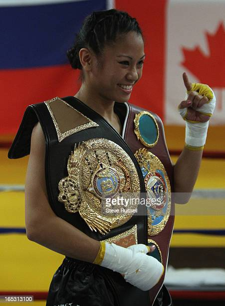 March 24 2010 San Francisco's Filipino fighting sensation Ana The Hurricane Julaton holds an open media workout Wednesday in preparation for her...