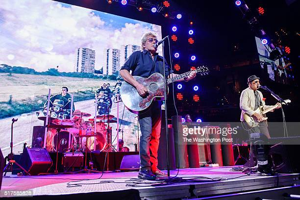 WASHINGTON DC March 24th 2016 Roger Daltrey and Pete Townshend of The Who perform at the Verizon Center in Washington DC as part of their The Who...