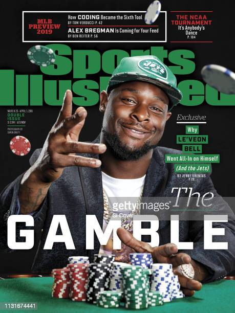 March 25 2019 April 1 2019 Sports Illustrated Cover Closeup portrait of New York Jets running back LeVeon Bell posing and tossing poker chips during...
