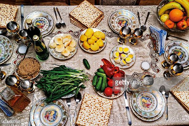 March 25 Home of Nisim Nisimov Gyrmyzy Gasaba Azerbaijan The Passover Seder table at the home of Nisim Nisimov the head of the municipality of the...