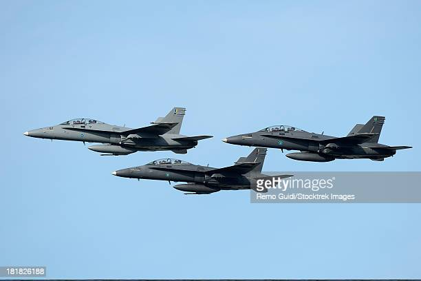 march 26, 2013 - a group of f/a-18 hornets of the royal malaysian air force fly-pass over langkawai airport, malaysia. - asian hornet stock pictures, royalty-free photos & images